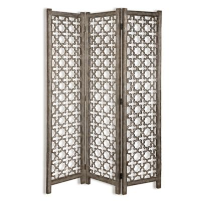 Uttermost Quatrefoil 3-Panel Burnished Floor Screen