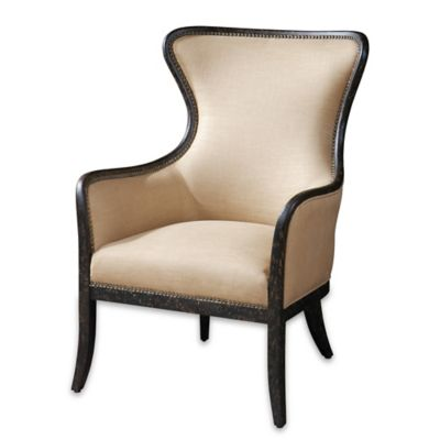 Uttermost Zander Wing Back Armchair in Light Tan