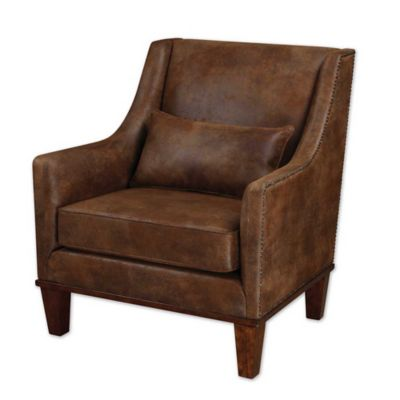 Uttermost Clay Leather Armchair in Dark Brown