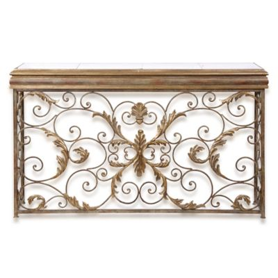 Uttermost Valonia Embossed Metal Console Table