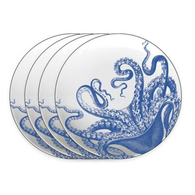 Caskata Studio Blue Lucy 4-Piece Tidbit Topper Plate Set