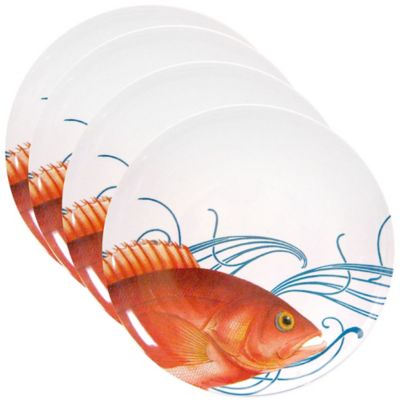 Caskata Studio Pink Fish 4-Piece Dinner Plate Set