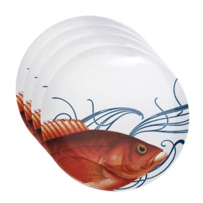 Caskata Studio Pink Fish 4-Piece Canape Plate Set