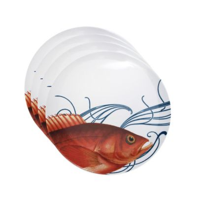 Caskata Studio Pink Fish 4-Piece Tidbit Topper Plate Set