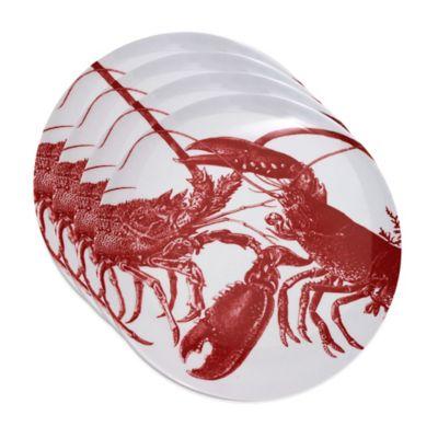 Caskata Studio Red Lobster 4-Piece Canape Plate Set