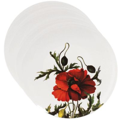 Set of 4 Red Dinner Plate