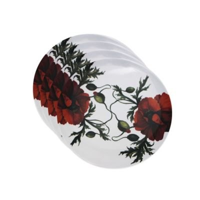 Caskata Studio Red Papaver Canape Plates (Set of 4)