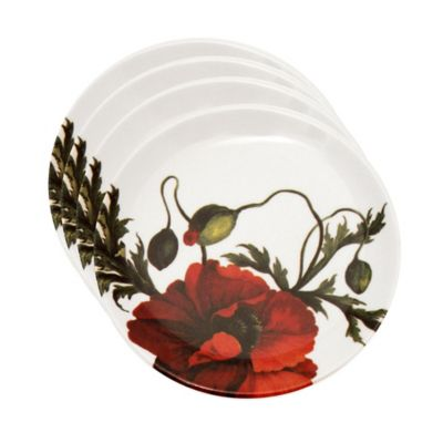Caskata Studio Red Papaver Tidbit Topper Plates (Set of 4)