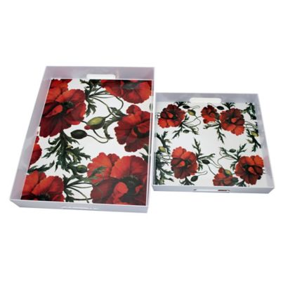 Caskata Studio Red Papaver Nestled Trays (Set of 2)