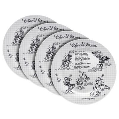 Zrike Disney® Sketch Book Minnie Mouse 4-Piece Dinner Plate Set