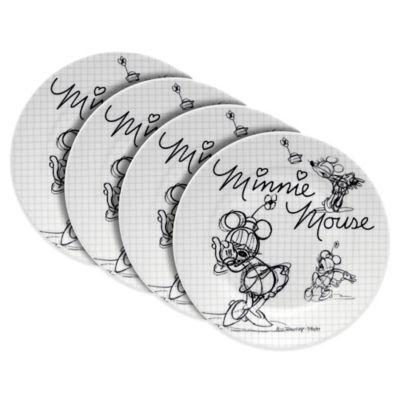 Zrike Disney® Sketch Book Minnie Mouse 4-Piece Salad Plate Set
