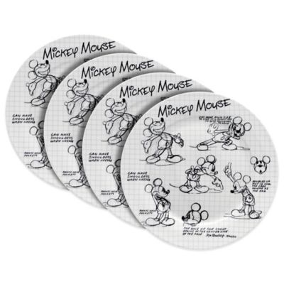 Zrike Disney® Mickey Sketchbook Dinner Plates (Set of 4)