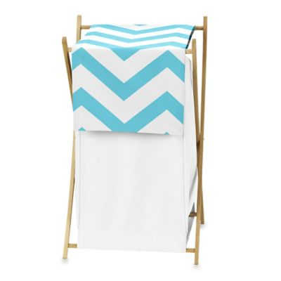 Sweet Jojo Designs Chevron Hamper in Turquoise and White