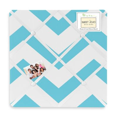 Sweet Jojo Designs Chevron Memo Board in Turquoise and White