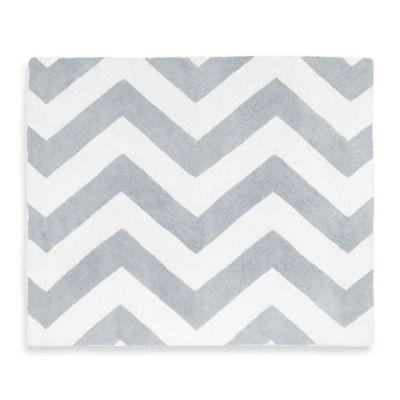 Chevron Rug in Grey and White