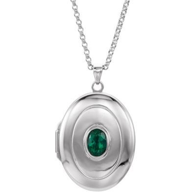 Sterling Silver Emerald 18-Inch Chain Oval Locket Necklace