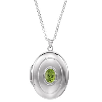 Sterling Silver Peridot 18-Inch Chain Oval Locket Necklace