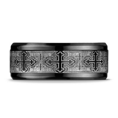 Black Titanium Size 7.5 Men's Cathedral Cross Wedding Band