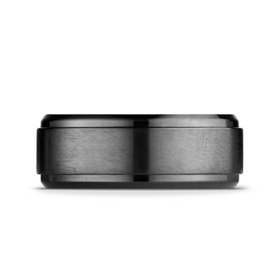 Black Titanium Step-Edge Size 7 Men's Comfort-Fit Wedding Band