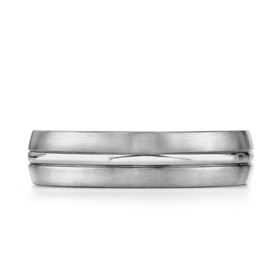 Titanium Polished Center Trim Size 8 Men's Comfort-Fit Wedding Band