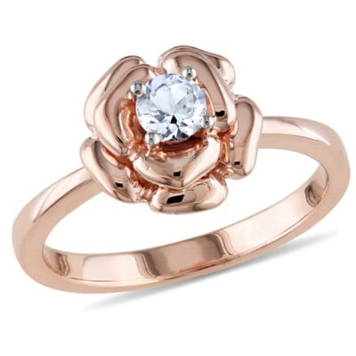 Rose-Plated Sterling Silver Lab-Created White Sapphire Flower Ladies' Ring