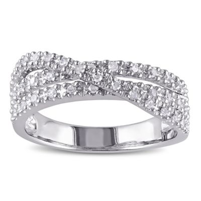 Sterling Silver .25 cttw Diamond Criss-Cross Size 5 Ladies' Ring
