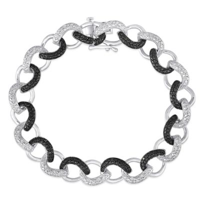 Sterling Silver .50 cttw Enhanced Black and White Diamond 7.5-Inch Interlocking Teardrop Bracelet