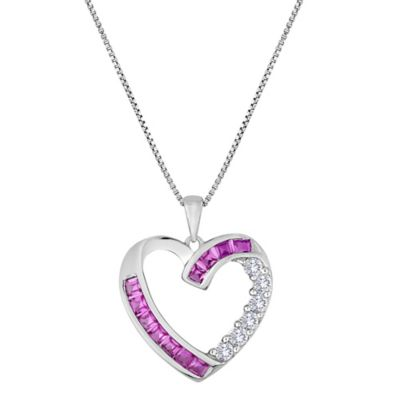Sterling Silver Lab-Created Pink and White Sapphire 18-Inch Chain Open Heart Pendant