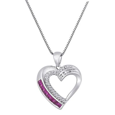 Sterling Silver .07 cttw Diamond and Pink Lab-Created Ruby 18-Inch Chain Double Row Heart Pendant