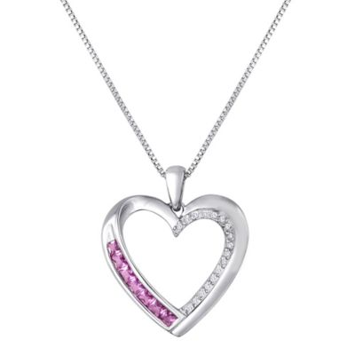 Sterling Silver.05 cttw Diamond and Pink Sapphire 18-Inch Chain Open Heart Pendant
