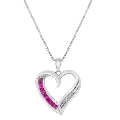 Sterling Silver .015 cttw Diamond and Lab-Created Pink Ruby Stylized Open Heart Pendant