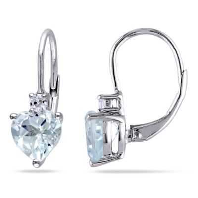 Sterling Silver Aquamarine and Lab-Created White Sapphire Heart-Shaped Earrings