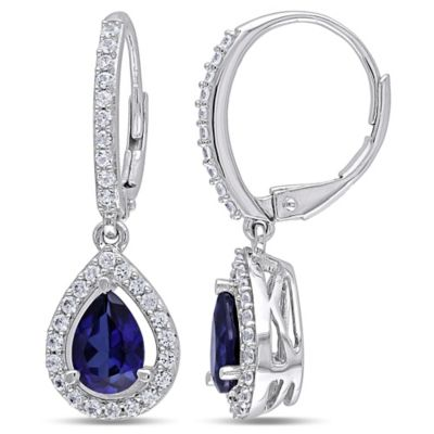 Sterling Silver 2.88 cttw Lab-Created Blue and White Sapphire Pear Drop Earrings
