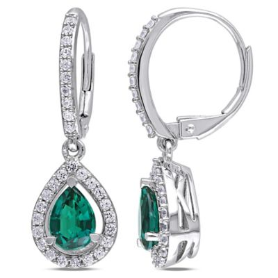 Sterling Silver Lab-Created Emerald and Lab-Created White Sapphire Framed Teardrop Dangle Earrings