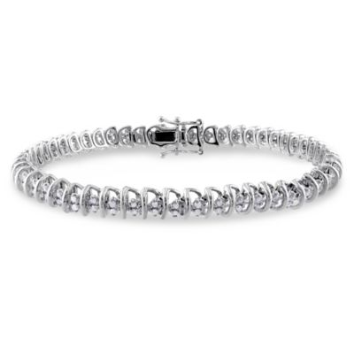 Sterling Silver 1.0 cttw Diamond 7.5-Inch Coil Tennis Bracelet