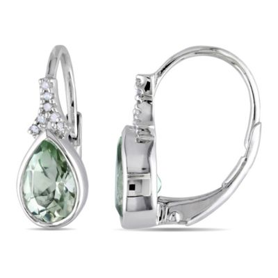 Sterling Silver .06 cttw Diamond and Green Amethyst Teardrop Earrings