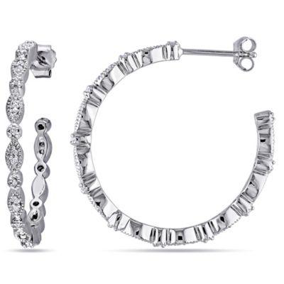 Sonatina Vintage Sterling Silver .25 cttw Diamond 29.5mm Hoop Earrings