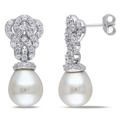 Sonatina Vintage Sterling Silver Lab-Created White Sapphire Freshwater Cultured Pearl Drop Earrings