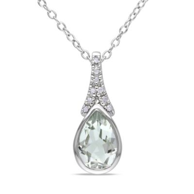 Sonatina Vintage Sterling Silver .05 cttw Diamond and Green Amethyst Teardrop Pendant Necklace