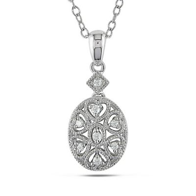 Sonatina Vintage Sterling Silver .06 cttw Diamond 18-Inch Chain Oval Pendant Necklace