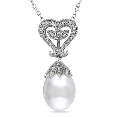 Sonatina Vintage Sterling Silver .06 cttw Diamond & Freshwater Cultured Pearl Heart Pendant Necklace