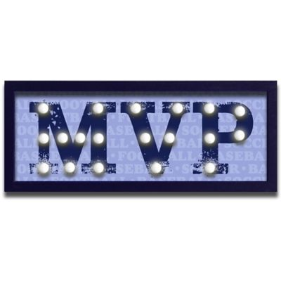"Design House LA ""MVP"" Framed Light-Up Sign in Navy"