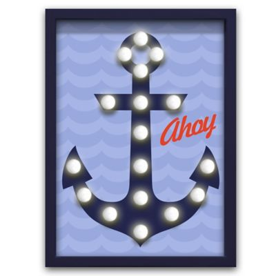"""Design House LA """"Ahoy"""" Framed Anchor Light-Up Sign in Navy"""