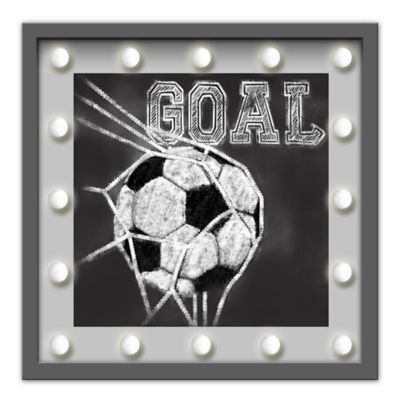 "Design House LA ""Goal"" Framed Soccer Ball Light-Up Sign"