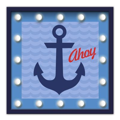 "Design House LA ""Ahoy"" Framed Anchor Light-Up Sign with Navy Anchor"