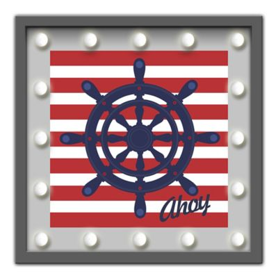 Design House LA Framed Captain's Wheel Light-Up Sign