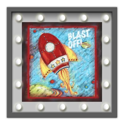 "Design House LA Framed ""Blast Off"" Rocket Drawing Light-Up Sign"