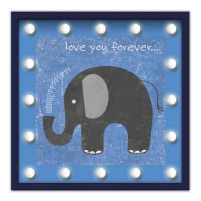 "Design House LA Framed ""Love You Forever"" Elephant Light-Up Sign"
