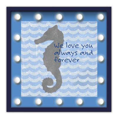 "Design House LA Framed ""We Love You Always And Forever"" Seahorse Light-Up Sign"