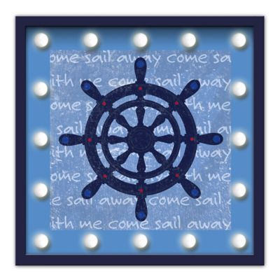 "Design House LA Framed ""Come Sail Away"" Captain's Light-Up Sign"